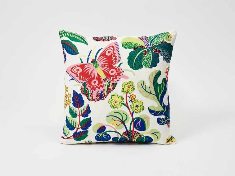 A faithful reproduction of a never-before-seen design by Josef Frank, this pattern bears the designer's signature modernity, whimsy and warmth. A signature Schumacher pattern featured as decorative accents, these are sure to elevate any interior or