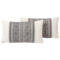 Schumacher Toledo Embroidered Bohemian Noir White Two-Sided Lumbar Pillows, Pair
