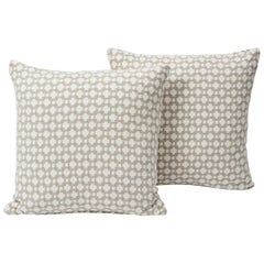 Schumacher Betwixt Textural Woven Stone White Two-Sided Pillows, Pair