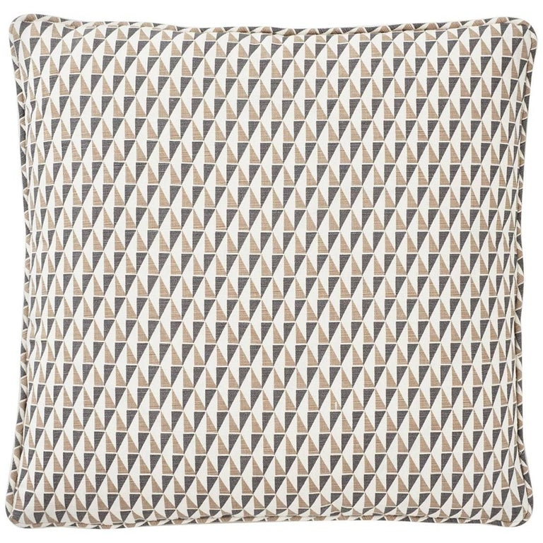 Frank Lloyd Wright Schumacher Design 107 Grey Sand Two-Sided Linen Pillow For Sale