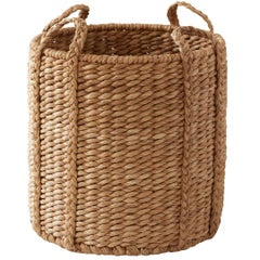 "Imported Lubid Woven Natural Abaca 20"" Ear Handle Basket"