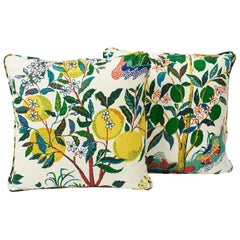 "Schumacher Josef Frank Citrus Garden Primary Two-Sided 18"" Linen Pillows, Pair"