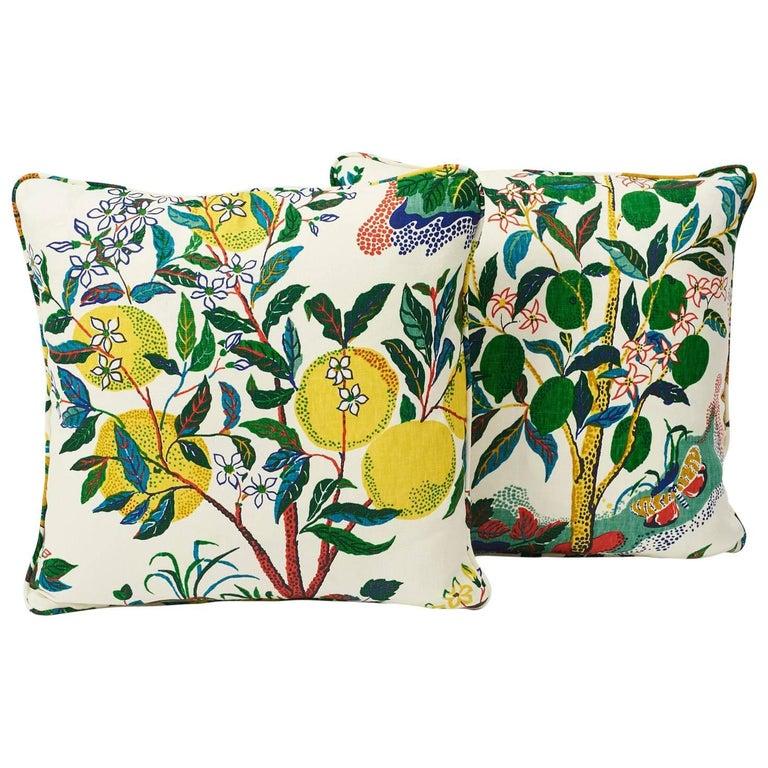 "Schumacher Josef Frank Citrus Garden Primary Two-Sided 18"" Linen Pillows, Pair For Sale"