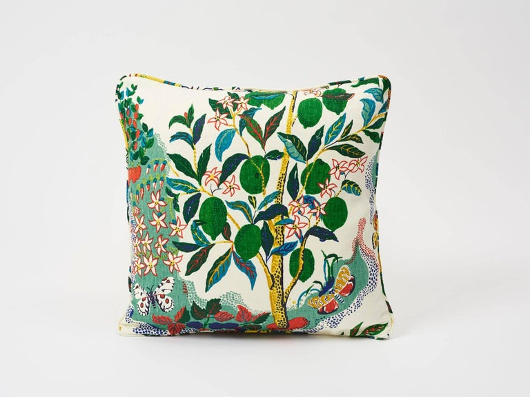 This archival Josef Frank print, created in 1947, bears the signature whimsy, color and personality for which the designer is known. The hand-drawn pattern has inimitable charm. Now featured as decorative pillow accents, in its primary color, this