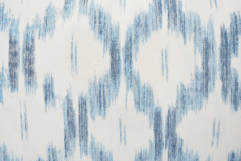 Schumacher Mark D. Sikes Santa Monica Ikat Indigo Blue Lumbar Pillow In New Condition For Sale In New York, NY
