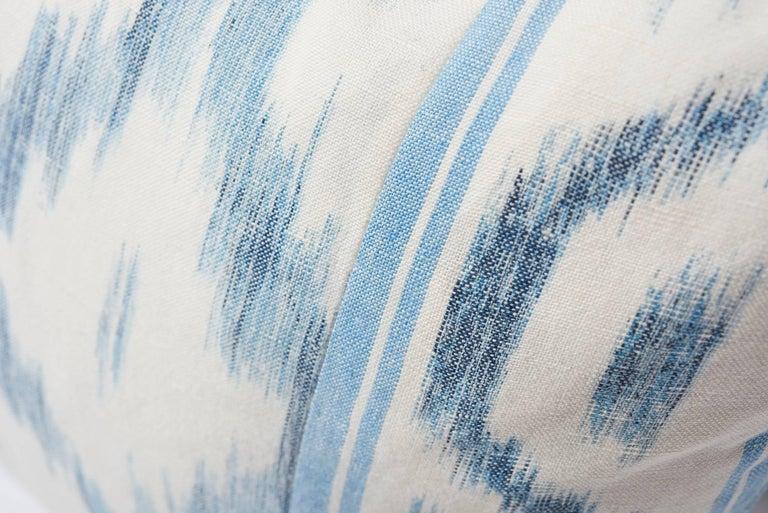 Contemporary Schumacher Mark D. Sikes Santa Monica Ikat Indigo Blue Lumbar Pillow For Sale