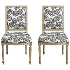 Schumacher Louis XVI Vogue Living Mona Blackwork Upholstered Side Chairs, Pair