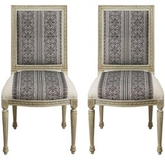 Schumacher Louis XVI Vogue Living Toledo Noir Upholstered Side Chairs, Pair