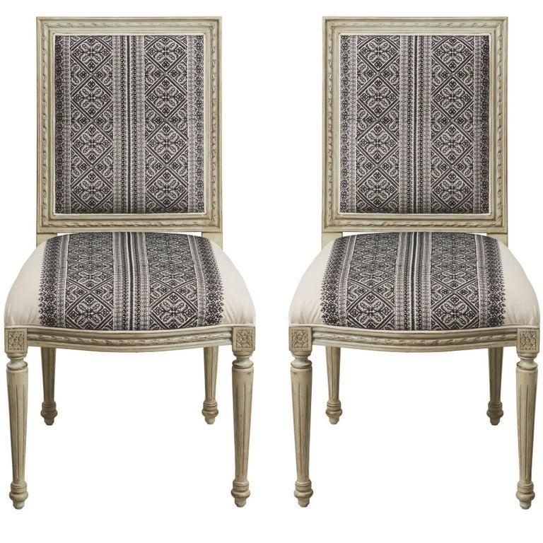 Schumacher Louis XVI Vogue Living Toledo Noir Upholstered Side Chairs, Pair For Sale
