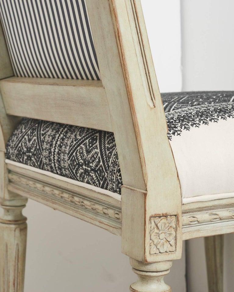 Contemporary Schumacher Louis XVI Vogue Living Toledo Noir Upholstered Side Chairs, Pair For Sale