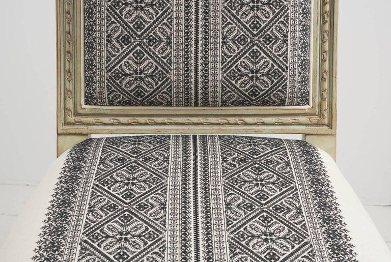 Schumacher Louis XVI Vogue Living Toledo Noir Upholstered Side Chairs, Pair For Sale 2