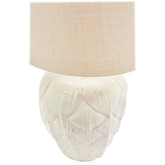Vintage 1960s White Ceramic Patina Artichoke Lamp