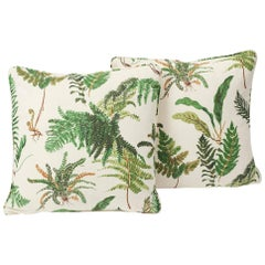 Schumacher Les Fougeres Elsie de Wolfe Floral Green Two-Sided Pillows, Pair