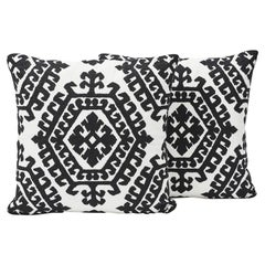 Schumacher Omar Embroidery Medallion Black White Two-Sided Pillows, Pair