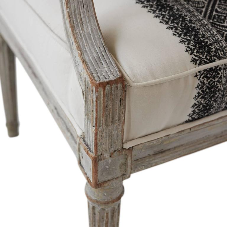 18th Century Jean Avisse Signed Hand-Carved Bergère French Armchair For Sale 1