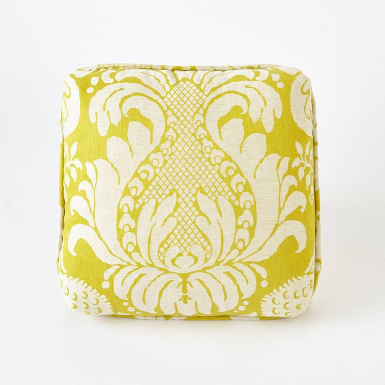 Contemporary Schumacher Alessandra Branca Anna Damask Acid Green Two-Sided 18