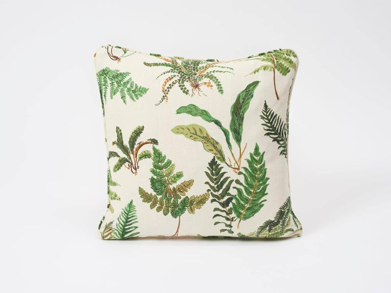 The leafy allover ferns make this a stylish twist on classic botanical patterns. Sourced from an Elsie de Wolfe-era hand-blocked cotton in our Schumacher archives, this decor accessory is sure to elevate any interior or setting!  Since Schumacher