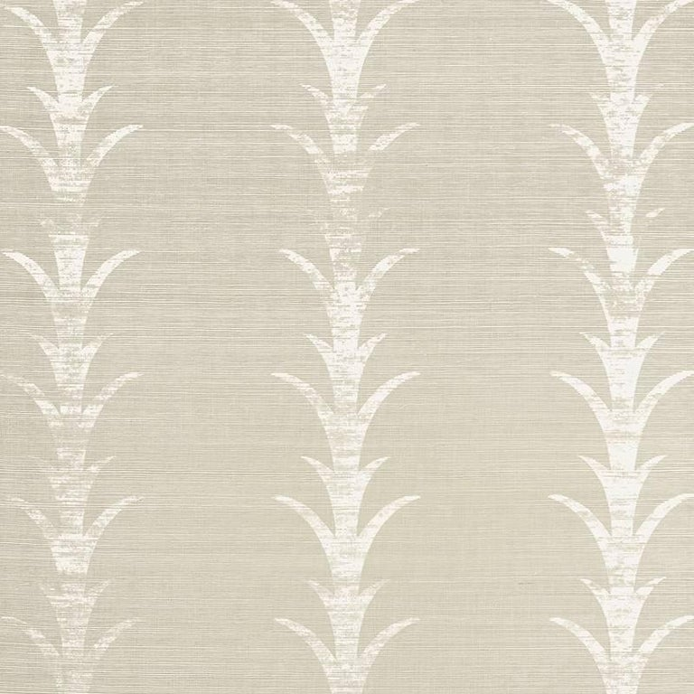 Printed Grasscloth Wallpaper: Schumacher Celerie Kemble Acanthus Stripe Hand Printed