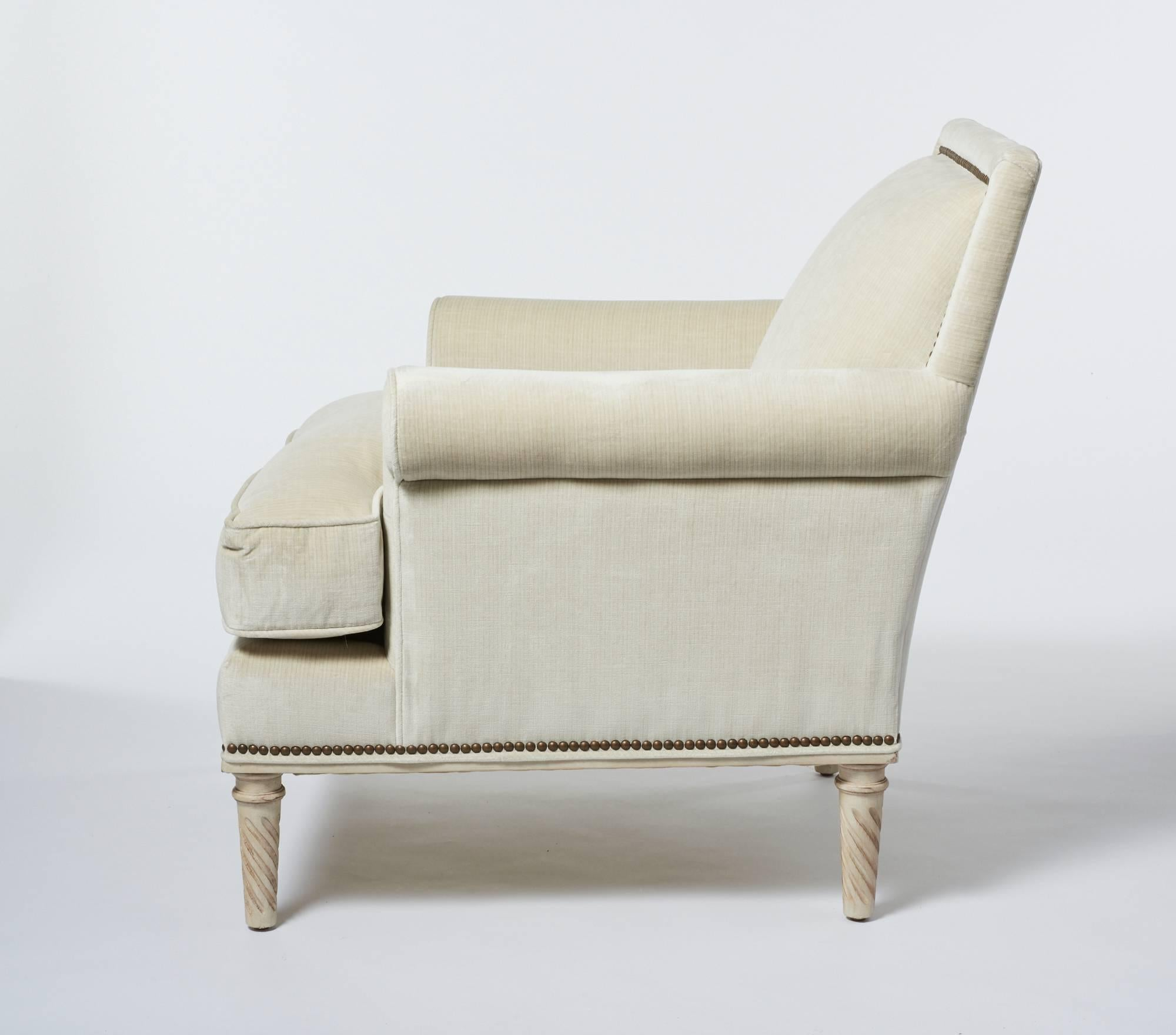 This Luxurious Schumacher Jansen Sock Armchair Is Upholstered With Our  Handsome Antique Strie Velvet Fabric In