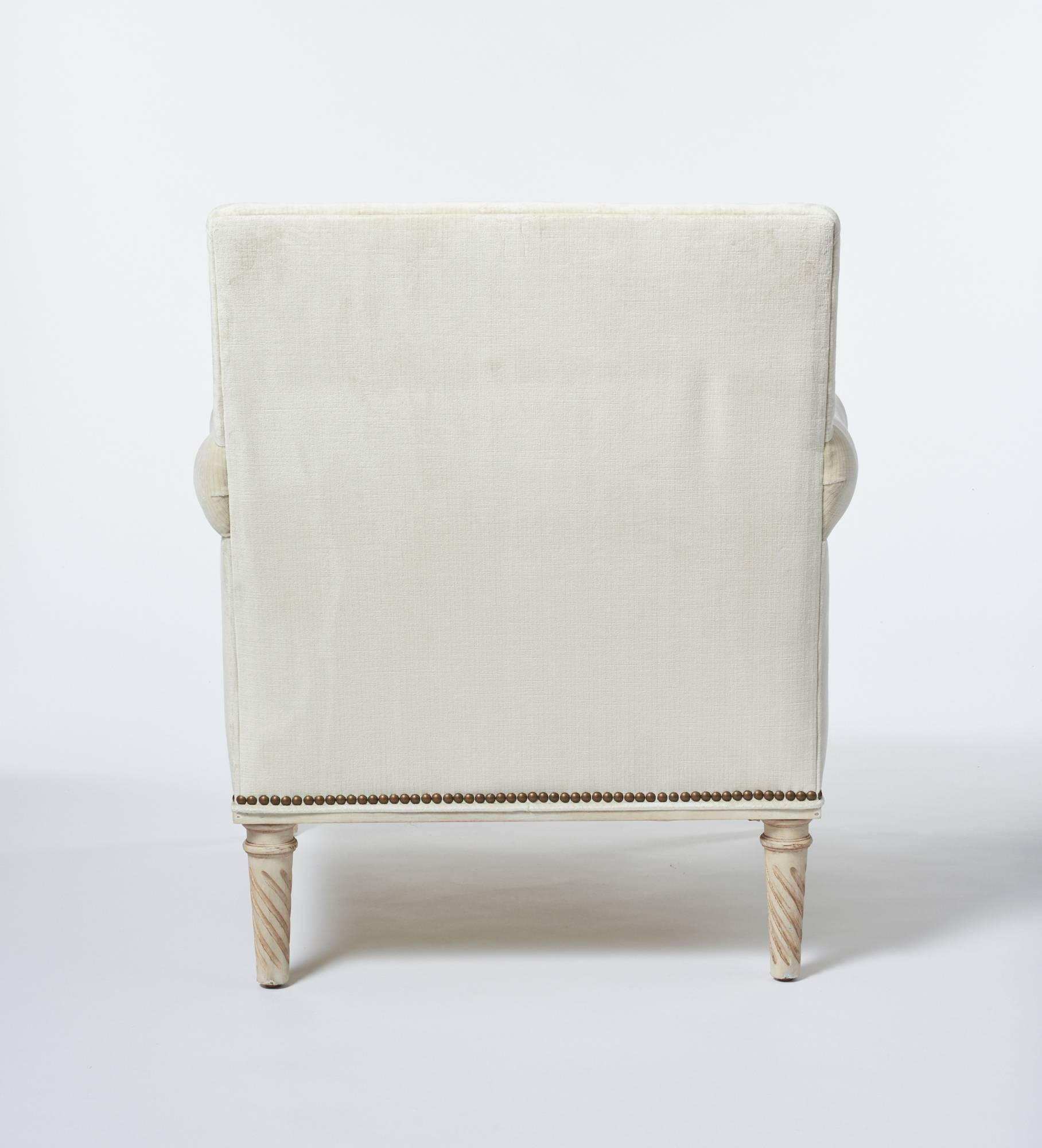 American Schumacher Jansen Strie Velvet Oyster Nailhead Trim Maplewood Leg  Sock Armchair For Sale