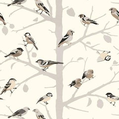 Schumacher A-Twitter Floral Screen-Printed Winter Color Wallpaper, Two Roll Set