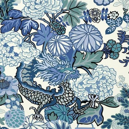 Schumacher Chiang Mai Dragon Blue Wallpaper