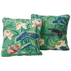 """Schumacher Lotus Garden Japanese Floral Jade Two-Sided 18"""" Linen Pillows, Pair"""