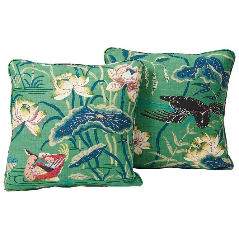 """Schumacher Lotus Garden Japanese Floral Jade Linen Two-Sided 18"""" Pillows, Pair"""