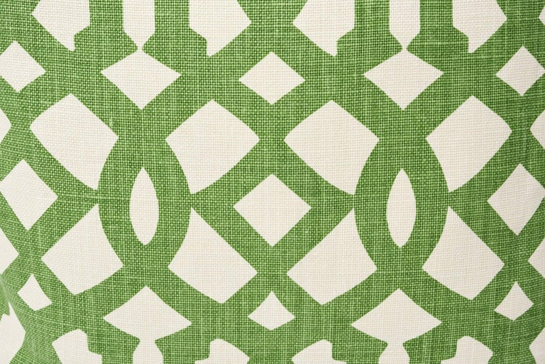 Hollywood Regency Schumacher Imperial Trellis Treillage Green Ivory Two-Sided 18