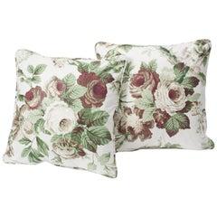 """Schumacher Vogue Living Nancy Floral Grisaille 18"""" Glazed Cotton Pillows, Pair"""