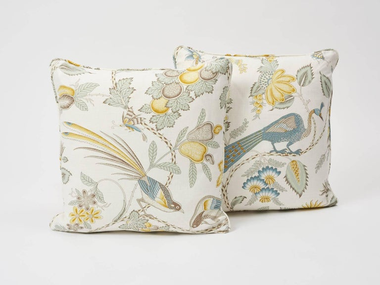 Schumacher Campagne French Floral Linen Cadet and Citron Yellow 18