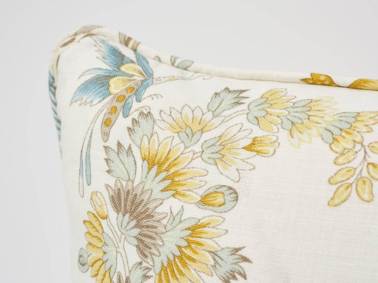 British Schumacher Campagne French Floral Linen Cadet and Citron Yellow 18