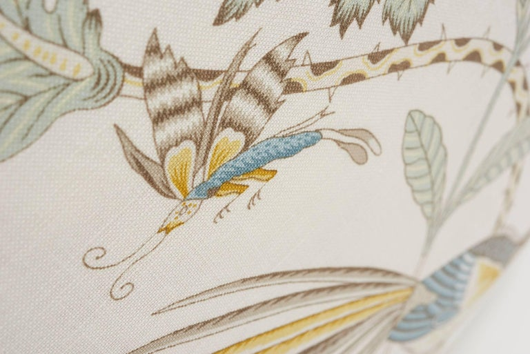 Contemporary Schumacher Campagne French Floral Linen Cadet and Citron Yellow 18