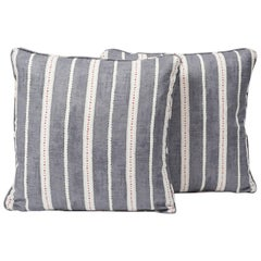 "Schumacher Amour Stripe Fine Linen Charcoal White Two-Sided 18"" Pillows, Pair"