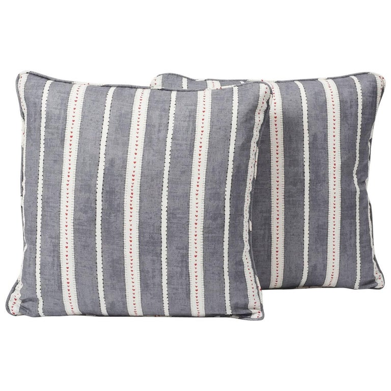 """Schumacher Amour Stripe Fine Linen Charcoal White Two-Sided 18"""" Pillows, Pair For Sale"""