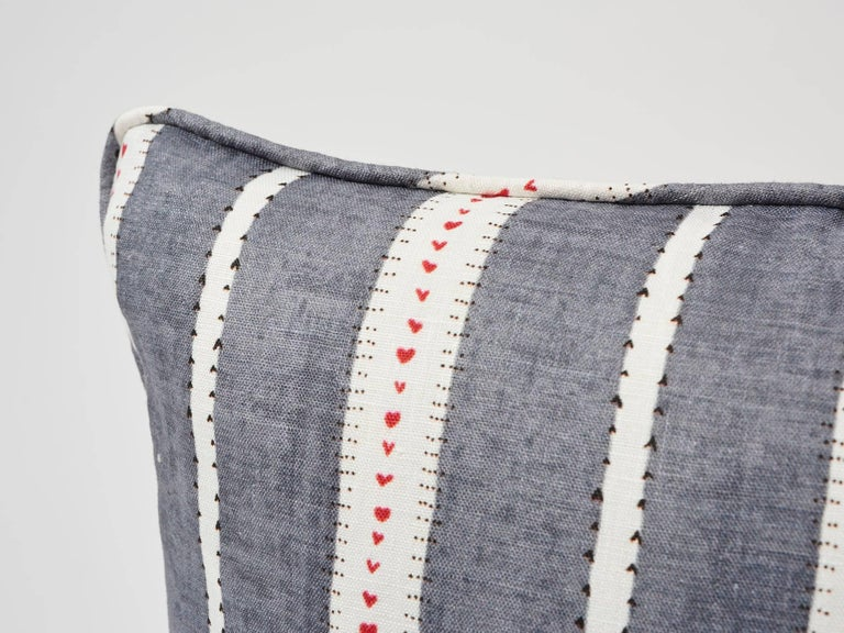 French Provincial Schumacher Amour Stripe Fine Linen Charcoal White Two-Sided 18