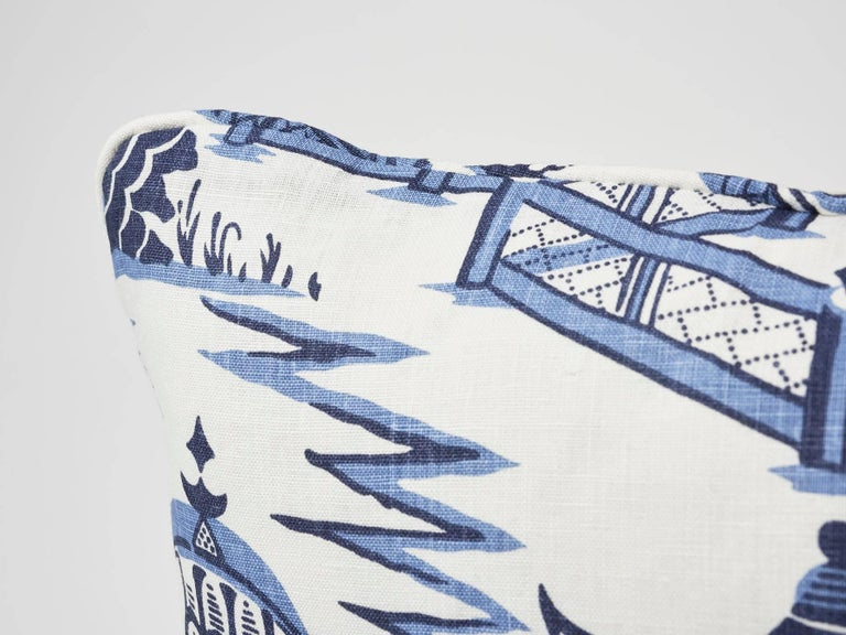 American Schumacher Nanjing Modern Chinoiserie Porcelain Blue Two-Sided 18