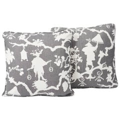 "Schumacher Shantung Silhouette Chinoiserie Smoke Two-Sided 18"" Pillows, Pair"