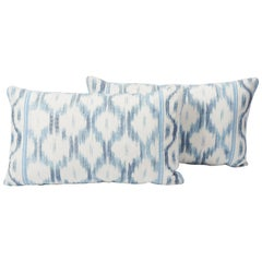 Schumacher Mark D. Sikes Santa Monica Ikat Indigo Blue Lumbar Pillow 26x15, Pair