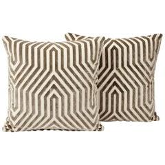 Schumacher Mary McDonald Vanderbilt Italian Velvet Pile Dove Pillows, Pair