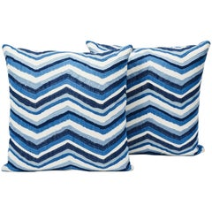 "Schumacher Shasta Embroidery Chevron Striped Blue Two-Sided 18"" Pillows, Pair"
