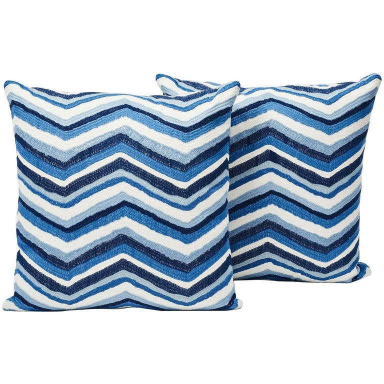 """Schumacher Shasta Embroidery Chevron Striped Blue Two-Sided 18"""" Pillows, Pair"""