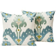 Schumacher Martyn Lawrence Bullard Raja Embroidery Ikat Silky Pillows, Pair
