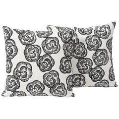 "Schumacher Vogue Living Mona Floral Embroidered Blackwork 18"" Pillows, Pair"