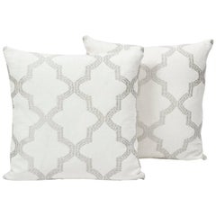 "Schumacher Tangier Embroidery Moroccan Silver White Two-Sided 18"" Pillow, Pair"