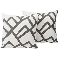Schumacher Zimba Graphic Print Charcoal White Two-Sided Pillows, Pair