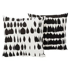Schumacher Queen of Spain Midcentury Black White Two-Sided Pillows, Pair
