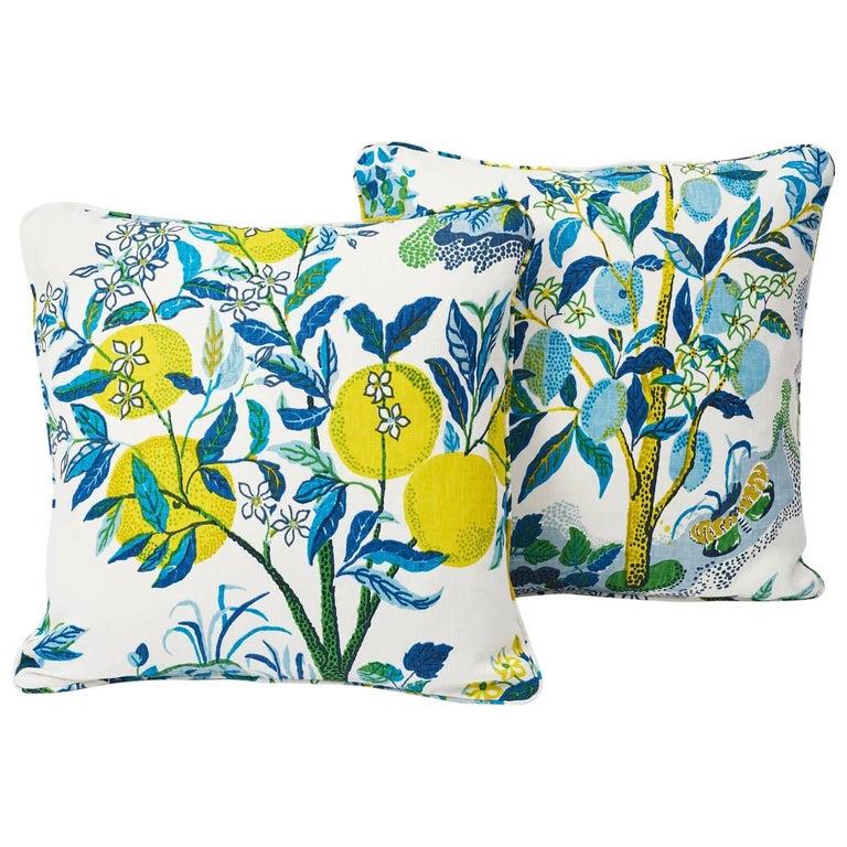 Schumacher Citrus Garden Josef Frank Linen Pool Blue Two-Sided Pillows, Pair For Sale