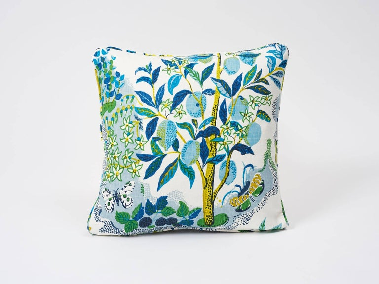 This archival Josef Frank print, created in 1947, bears the signature whimsy, color and personality for which the designer is known. The hand-drawn pattern has inimitable charm. Featured as a set of stunning decorative accents, in Pool Blue, this