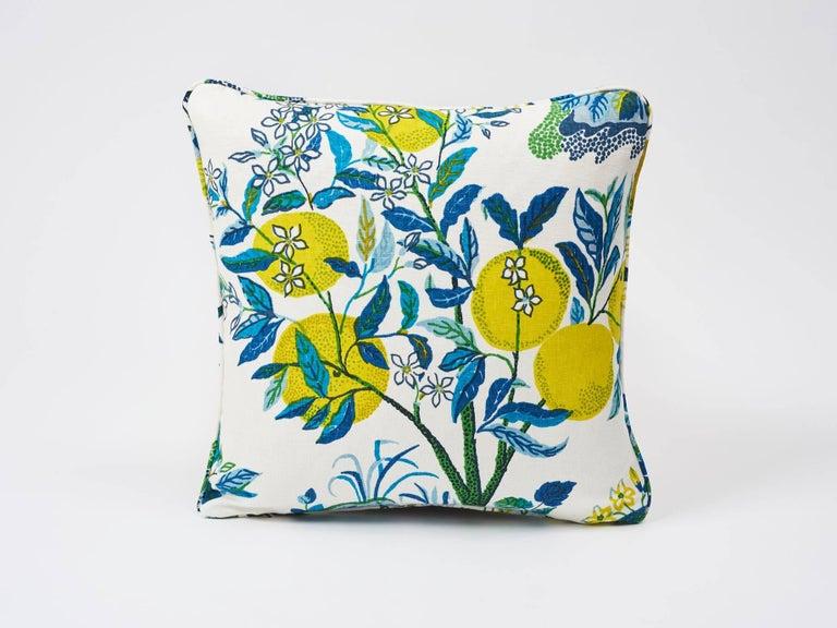 American Schumacher Citrus Garden Josef Frank Linen Pool Blue Two-Sided Pillows, Pair For Sale